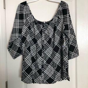 Off the Shoulder Plaid blouse